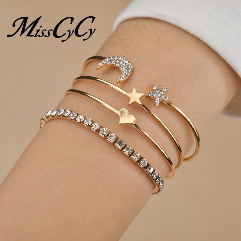 MissCyCy 4 Pcs/set Rhinestone Moon and Star Bracelet for Women Heart Cuff Bangles Punk Style Party Jewelry Accessories