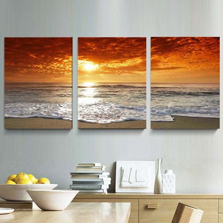 3 Panel Modern Sea Sand Beach Sunset Oil Painting Pictures
