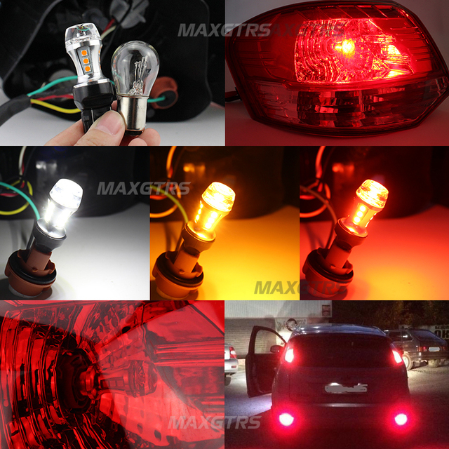 2x T25 3157 3057 P27/7W 18 Led 3030 Chips 6000K White Red Yellow Brake Lights Reverse Lamp DRL Car Tail Bulb LENS With Projector