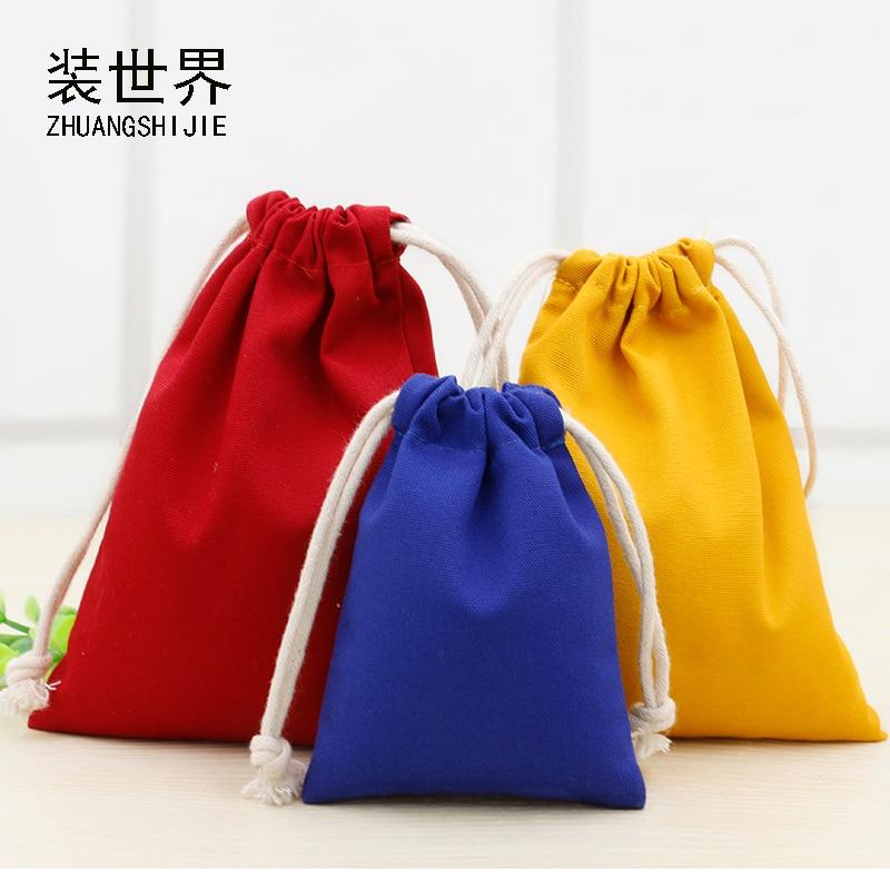 19.5cm*23.5cm Custom Logo Print  Cotton Canvas Bag Pouch Wholesale Drawstring Bags Underwear Bags For Women
