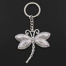 Fashion Dragonfly 60x58mm Pendant 30mm Key Ring Metal Chain Silver Color Men Car Gift Souvenirs Keychain Dropshipping