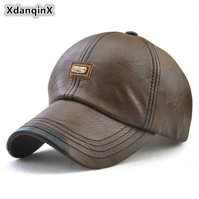 XdanqinX 2018 Winter New Style Men's Baseball Caps Western Style Leather Fashion Simple Cap Male Bone Adjustable Size Dad's Hat [jamont] new design men baseball cap winter snapback hat 100% pu leather hats winter male caps simple style casquette
