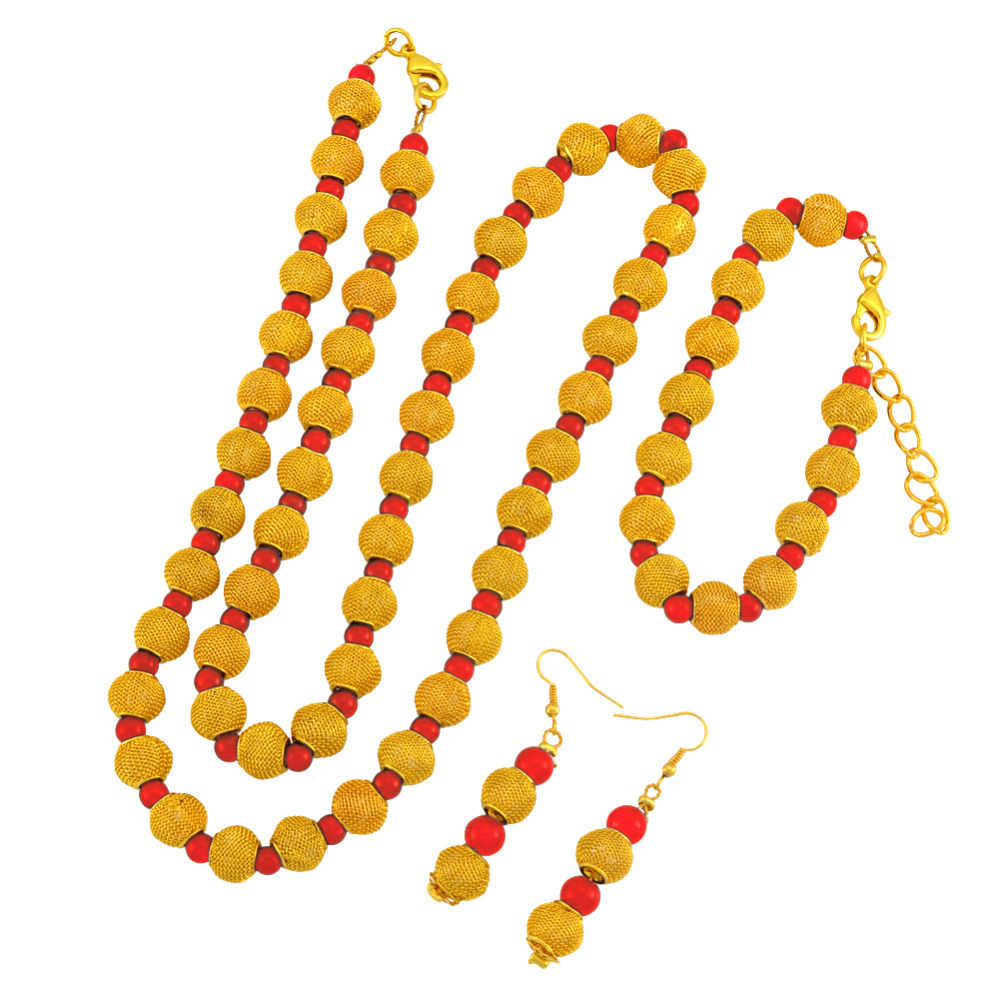 Vàng châu phi Màu Mân Côi Hạt 77 cm Hạt Vòng Cổ 23 cm Bóng Vòng Tay Bông Tai cho Phụ Nữ bộ Đồ Trang Sức Bên # j0947