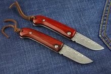Red Handle Folding Pocket Knife Camping  Hunting Survival knives Damascus EDC Rescue Tools 1694#