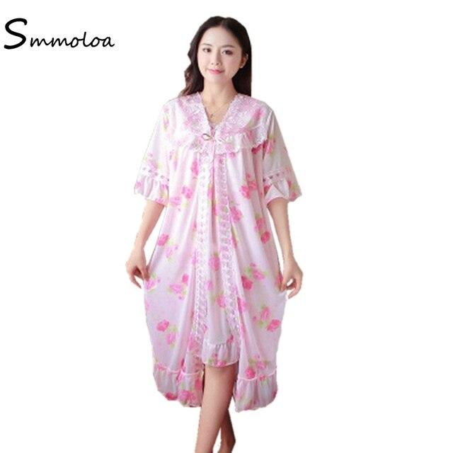 afa158c009 Smmoloa 2018 Autumn Ice Silk Nightgown Robe Bet Tranparent Sexy Sleepwear