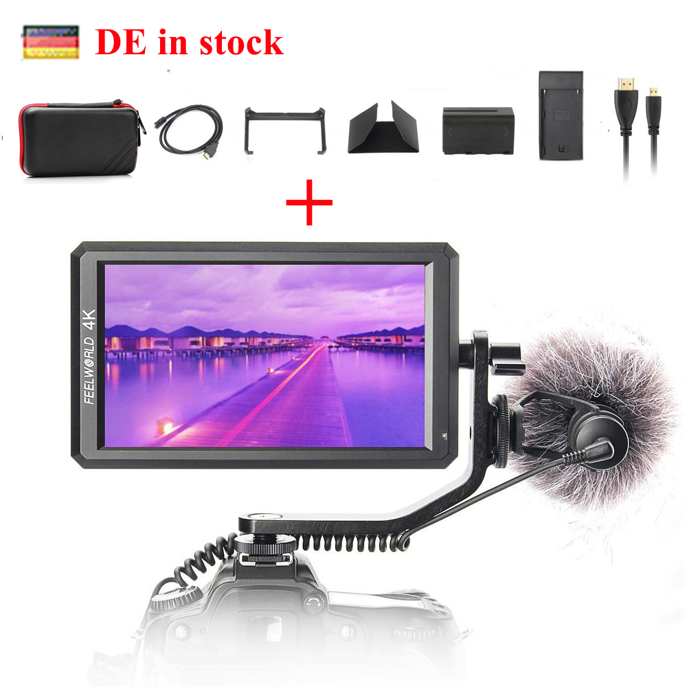 (can ship from Germany) Feelworld F6 5.7 IPS 4K HDMI Monitor for DSLR or Mirrorless Camera w/ Battery it Can Power for Camera цена