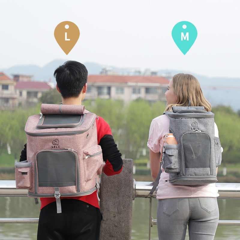Kat Draagtassen Ademende Gaten Opvouwbare Pet Travel Carrier Rugzak Voor Katten En Kleine Honden Dubbele deur Zak WLYANG
