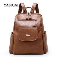 Vintage Women Backpack High Quality PU Leather Mochila Girls School Bags For Teenagers Backpacks Female Zipper