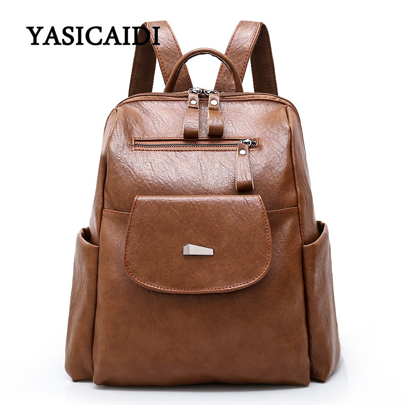 Vintage Women Backpack High Quality PU Leather Mochila Girls School Bags For Teenagers Backpacks Female Zipper Casual Daypacks zhierna brand women bow backpacks pu leather backpack travel casual bags high quality girls school bag for teenagers