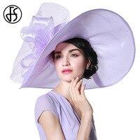 FS Elegant Light Purple Organza Hat With Wedding Dress For Women Summer Bowknot Veils Lady Large