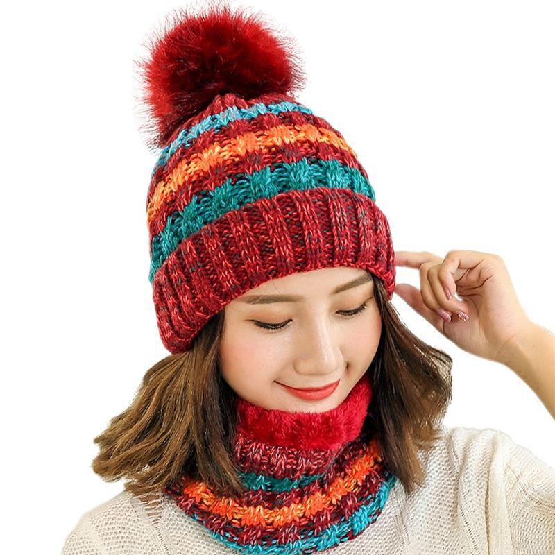 Simple Women Knitted Hat Women Brand High Quality Winter Girls Ball Ski Rabbit Fur Hat PomPoms Warm Balaclava Knitted Hats Scarf