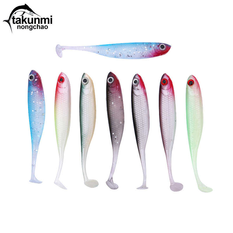 2019 nuevo T Tail 1 Uds Soft fishing señuelo 7 colores biónica cebo Easy Shiner 70mm 2,5g Swimbaits silicona HS-12