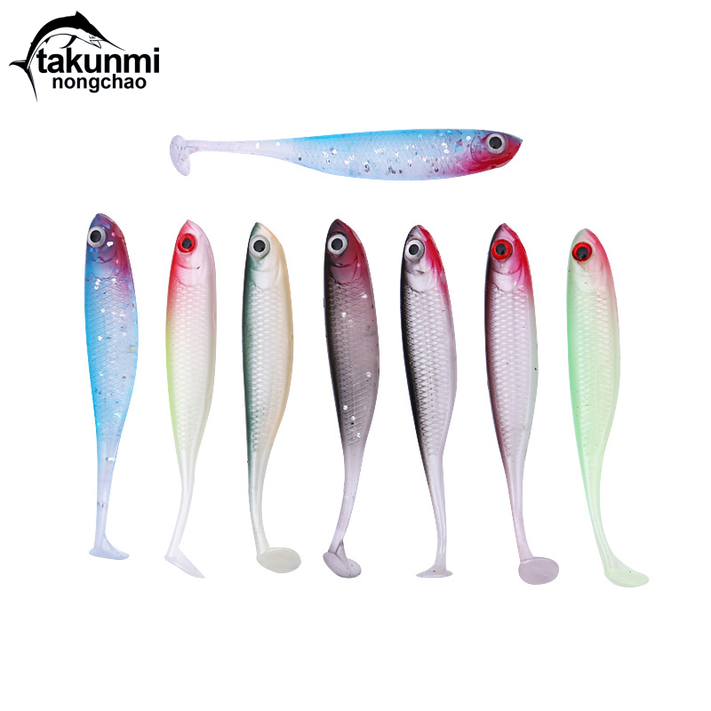 2019 new <font><b>T</b></font> <font><b>Tail</b></font> 1pcs Soft fishing <font><b>lure</b></font> 7 Colors Bionics Bait Easy Shiner 70mm 2.5g Swimbaits <font><b>Silicone</b></font> HS-12 image