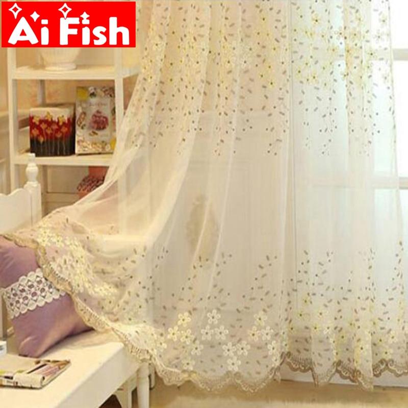 Fashion Stripe Rustic Curtain Yarn Bedroom Living Room: Fashion Grey Leaves Embroidery Rustic Flower Yarn Curtain