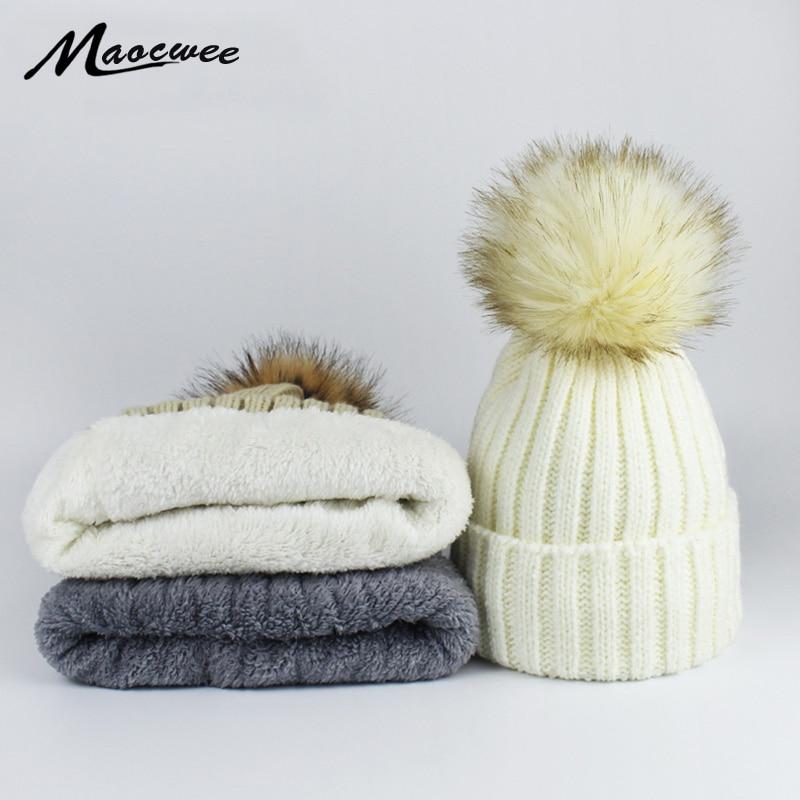 606450746fd Women Winter Dyeing Faux Fur Pompom Beanie Hat Cap Add Plus Velvet Skullies  Caps Girl Warm