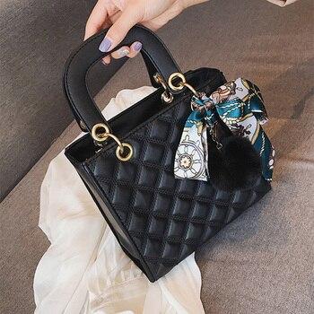 Женская сумка, маленькая сумка через плечо с помпоном из ленты для женщин, сумка-тоут из искусственной кожи, женская сумка-мессенджер, бренд...