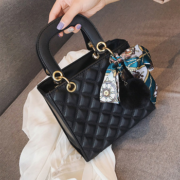 Ladies Handbag small Ribbon Hair ball Shoulder bags for women Tote bag PU Leather female Messenger bag Brand Designer bolsa red