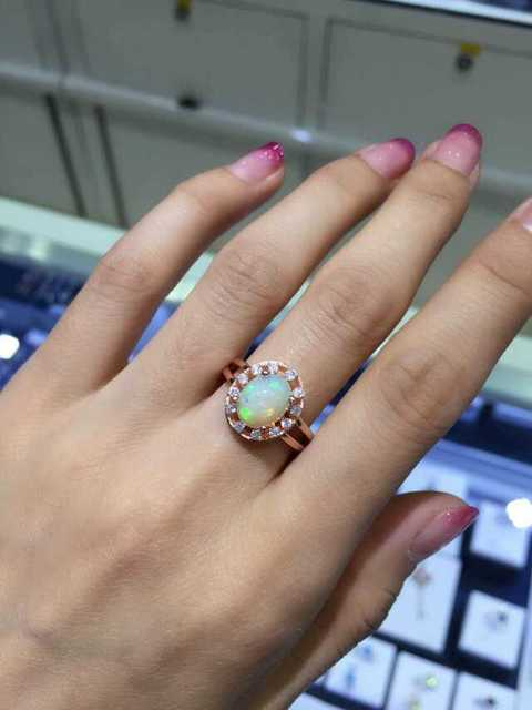 Natural Transparent opal stone Ring Natural gemstone Ring S925 sterling silver trendy Elegant simple round women's men Jewelry