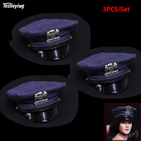 3PCS/S 1/6 Scale Female Figure Accessory US. Police Stopper Policewoman Octagonal Hat Fabric Pattern for 12 Head Sculpt Body