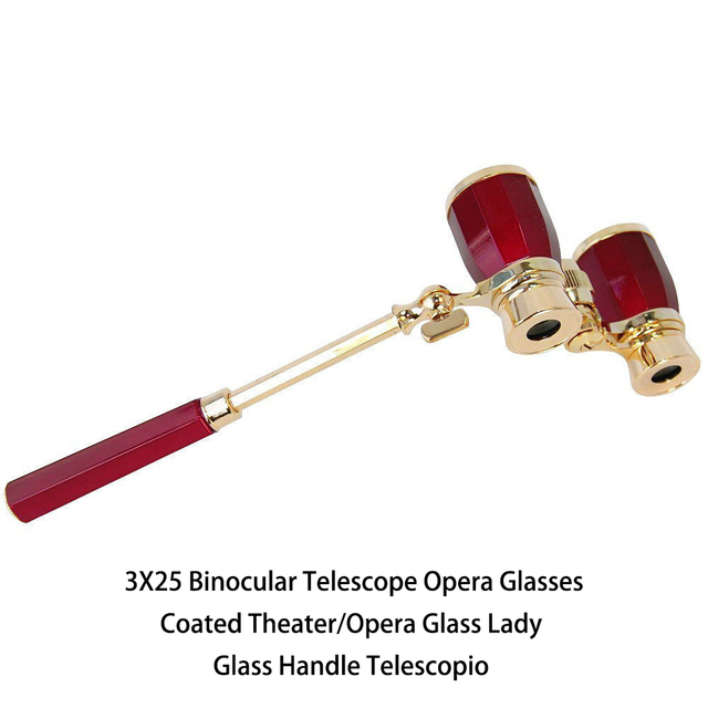 3X25 Binocular Telescope Opera Glasses Coated Theater/Opera Glass Lady Glass Handle Telescopio