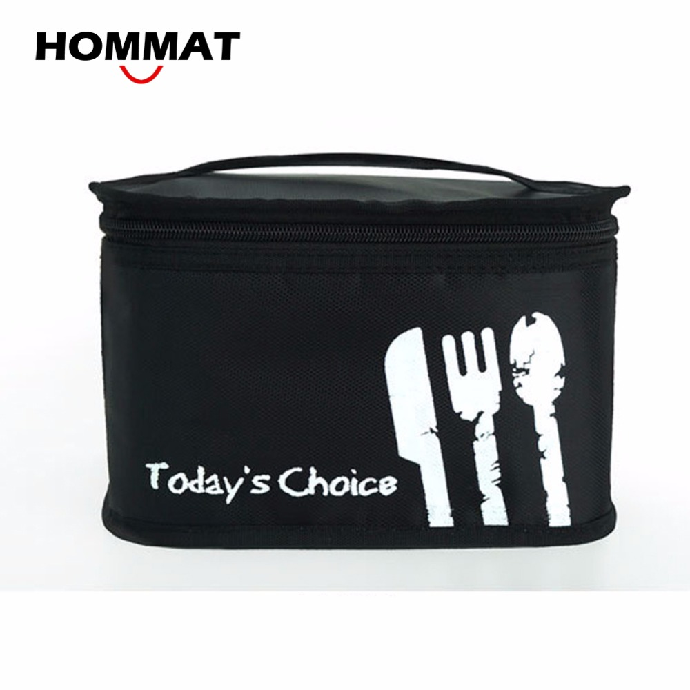 HOMMAT Black Thermal Insulated School Lunch Boxs Picnic Bag