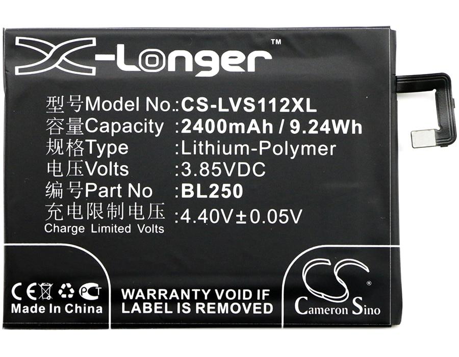 Batterie Cameron Sino 2400mAh BL250 pour Lenovo S1a40, S1a40 double TD-LTE SIM, S1c50, S1c50 double TD-LTE SIM, Vibe S1