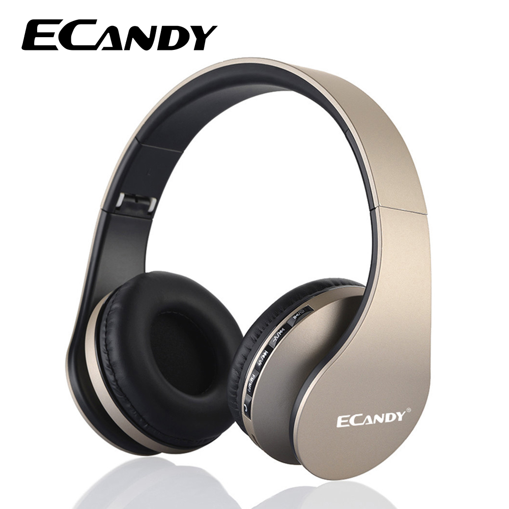 ECandy Wireless Bluetooth Headphone Noise Cancelling Super Bass Music Headphones Mic Foldable Headset for Smartphones Earphone  new style portable wireless bluetooth foldable headphone noise cancelling headset