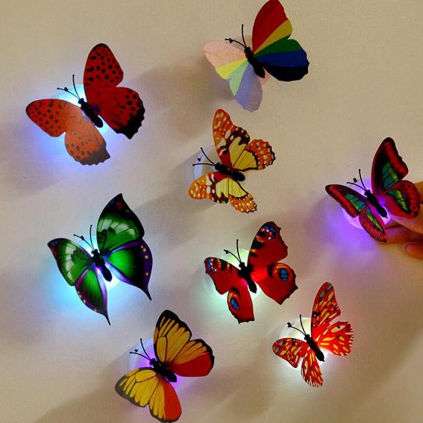 Wall Sticker 1 Pcs Wall Stickers Butterfly LED Lights Wall Stickers 3D House Decoration Drop Shipping 2018j23