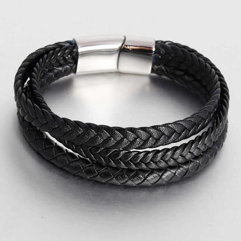 Multi-layer Stainless Steel Buckle Black Genuine Leather Bracelet For Men Women Classic Design For Surprise Gift Magnet
