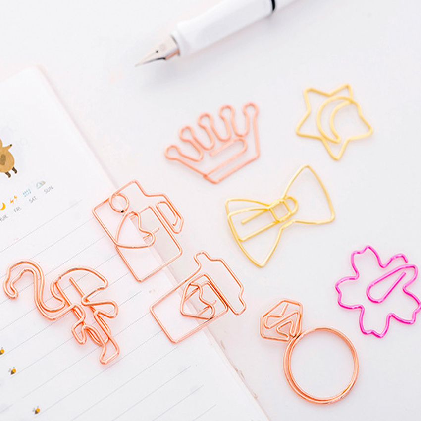 5pcs lot Kawaii Rose Gold Paper Clips Bookmark Metal Binder Paper Clip Bookmark Office Statioinery School Office Supply in Clips from Office School Supplies