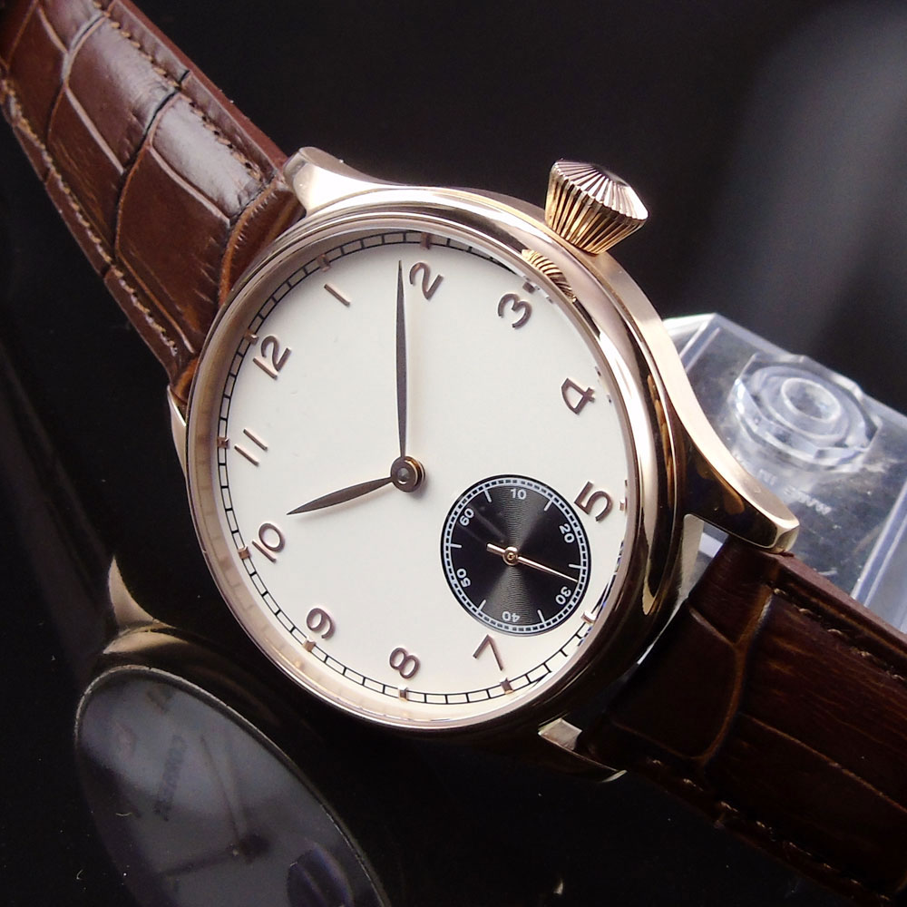 BLIGER 44MM White Sterile Dial Mechanical Men's Watch Luxury Rose Golden Case 6498 Hand Winding Movement Relogio Masculino BC20-in Mechanical Watches from Watches    1