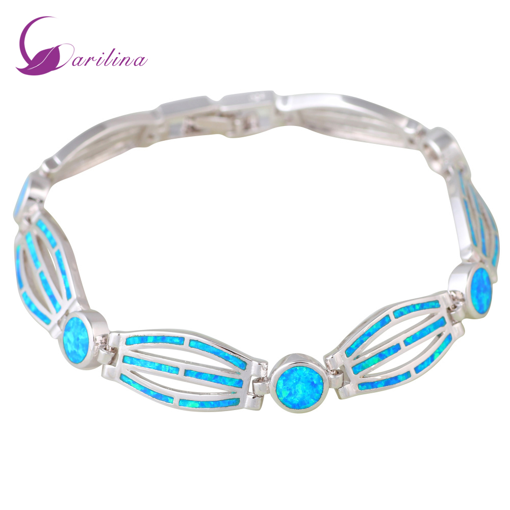 New Hot Popular Womens Silver 925 Blue Fire Opal Bracelets Bangles For Teen Girls Pulseiras Femininas Women's Fashion 2019 B468