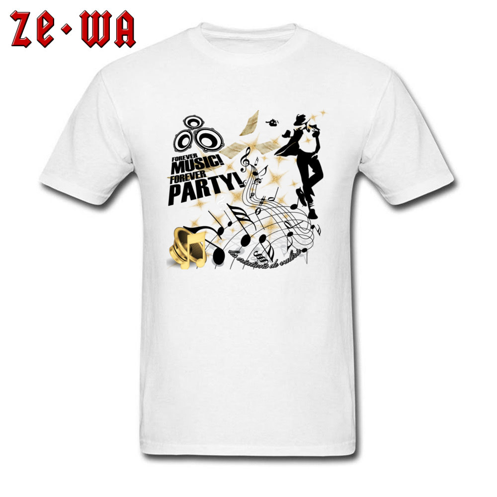 New Arrival Forever Music Party Printed Top T-shirts Round Collar 100% Cotton Men Tops Shirt Short Sleeve T Shirts ostern Day Forever Music Party white