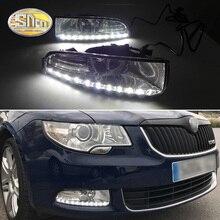 Для Skoda Superb 2010-2013, супер яркость Водонепроницаемый ABS автомобиль DRL 12 В Светодиодный дневной ходовой светильник с противотуманной лампой крышка SNCN