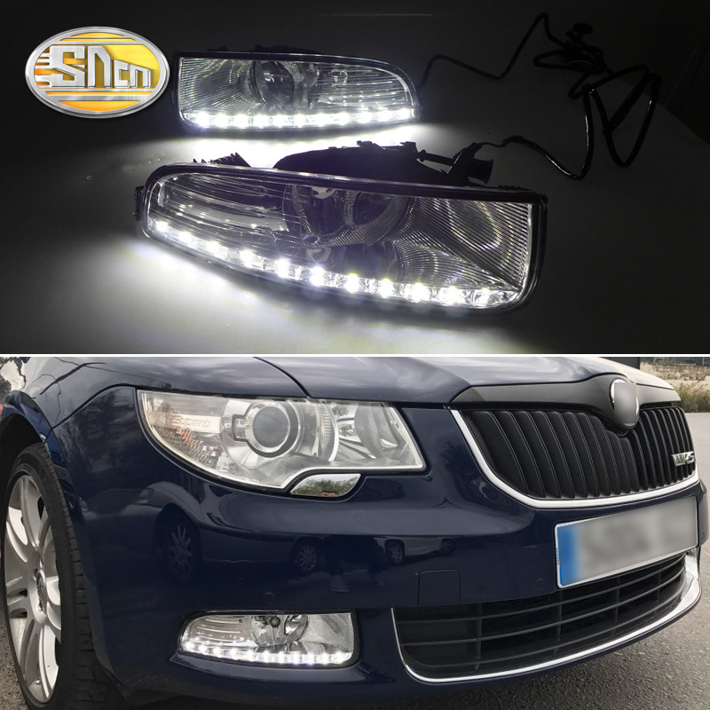 Untuk Skoda Superb 2010 - 2013, Kecerahan Super Waterproof ABS Car DRL 12V LED Daytime Running Light Dengan Fog Lamp Sampul SNCN