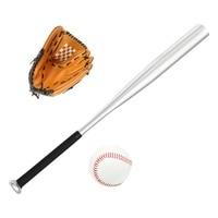 Kid Aluminum Baseball Healthy Sport Soft Baseball Bat Glove and Fitness Ball Set Bat + Gloves + Baseball (with brown gloves3