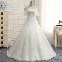 2017 Best Sale Real Photos Ivory Two Pieces Strapless A Line Lace Appliques Beading Wedding Dress