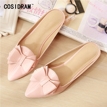 COSIDRAM Bowtie Patent Leather Women Slippers Pointed Toe 2017 Summer Shoes Ladies Women Slides Flat Heels Casual Shoes SNE-702