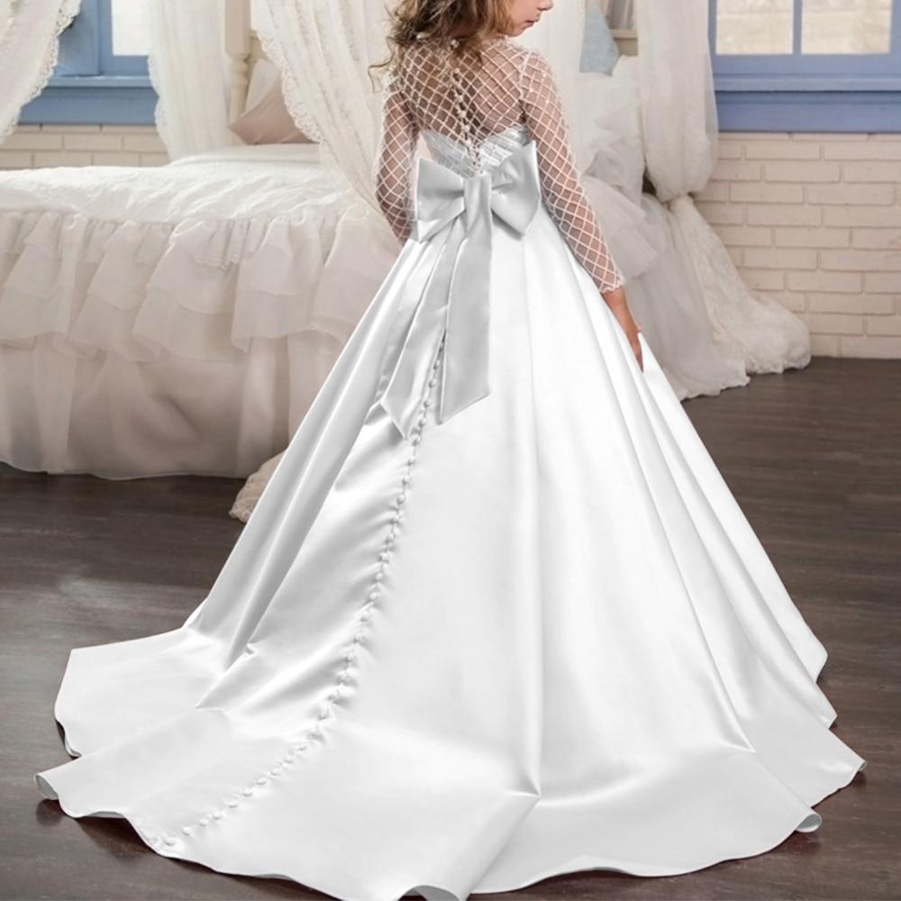 f6ff2509d536e Vintage Child White Dress Trailing Long Wedding Bridesmaid Dresses for Kids  Elegant Gown Princess Dress for Girls Photo Shoot