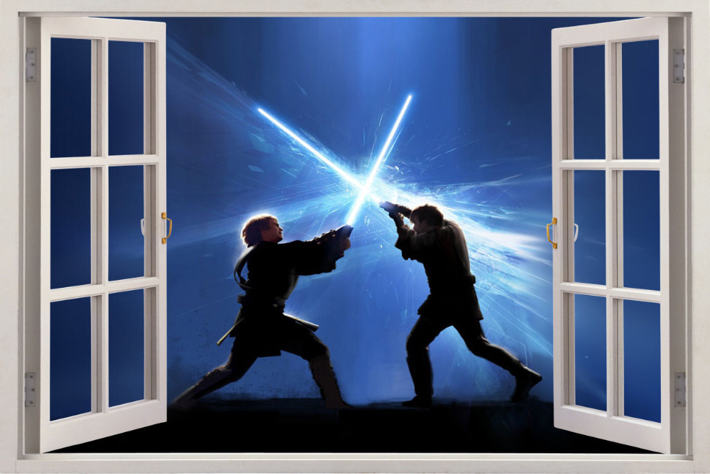 Star Wars 3d Window View Wall Sticker Decor Art Mural Kids Boy Decal