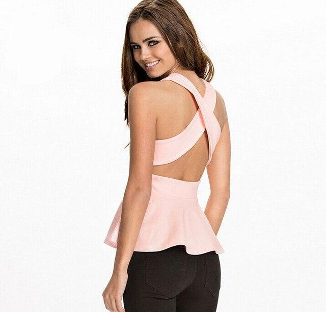 2015 del verano del tanque Sexy Tops moda Women marca linda rosa / blanco / azul O cuello Backless volver Criss Cross con volados Tops chaleco caliente de la venta