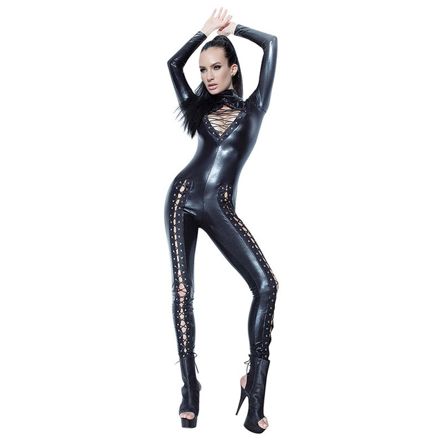 e5939788101 Sexy Black Wetlook Vinyl Leather Jumpsuits Women Bodysuit Plus Size Long  Sleeve Lace Up Rompers Womens