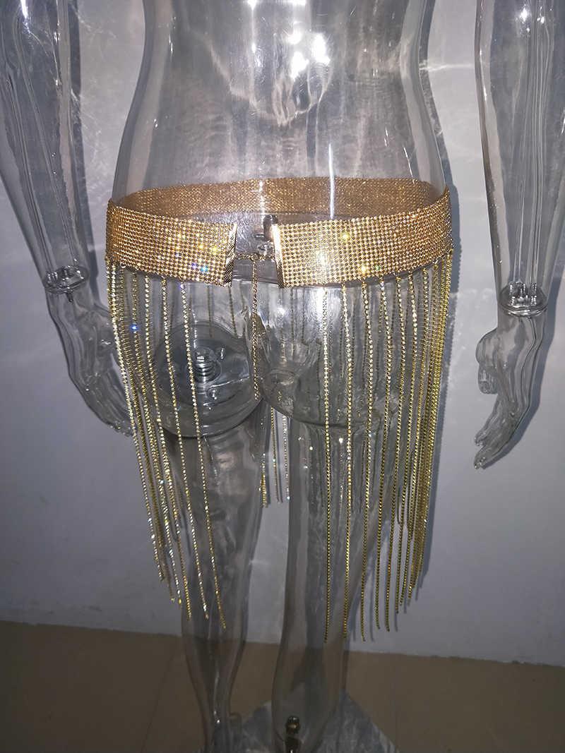 ... Bonnie Forest Sexy Crystal Studded Tassel Details Mini Skirt Glitter  Sexy Hollow-Out Diamonds Waist ... 9773d369a501