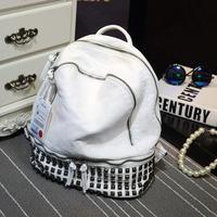 Hot Selling Women Backpack Soft Sheepskin Real Leather Women Bag Rivet Female Shoulder Bag Travel School Bag Teenage Backpacks