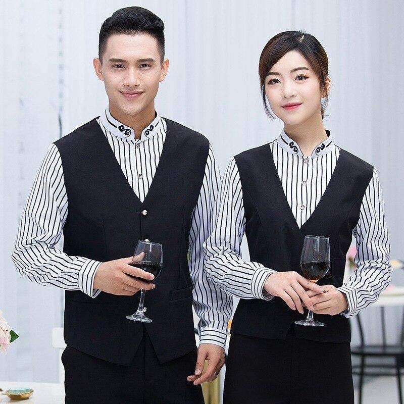 Long Sleeve Waitress Uniform Jacket KTV Night Club Catering Restaurant Women Work Clothes Cafe Waiter Men Overalls Coat H2405