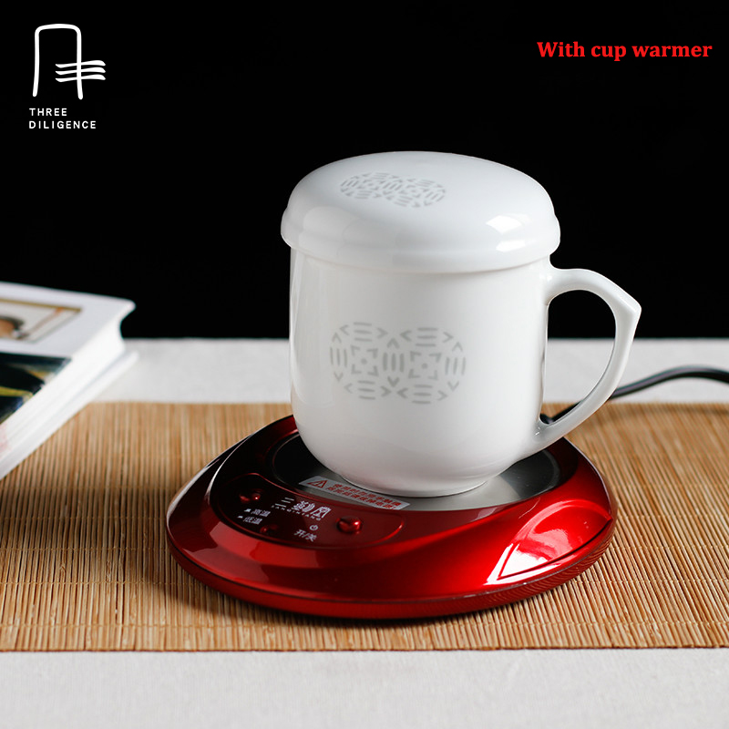 New Year Gift Chinese Ceramic Coffee Mug Tea Cup With Filter And Lid Electronic Warmer Mat Set Rice Pattern Cupugs In Mugs From Home Garden On