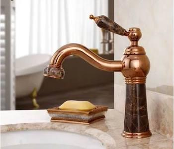 Classic basin faucet copper brass european basin bathroom basin rose gold faucet marble basin taps