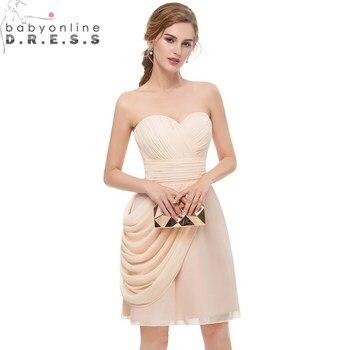 c1b6e38befe5e Babyonlinedress Chiffion Kısa Mezuniyet Elbiseleri Sevgiliye Kolsuz Draped  Özel Qccasion Elbiseler Vestido Curto