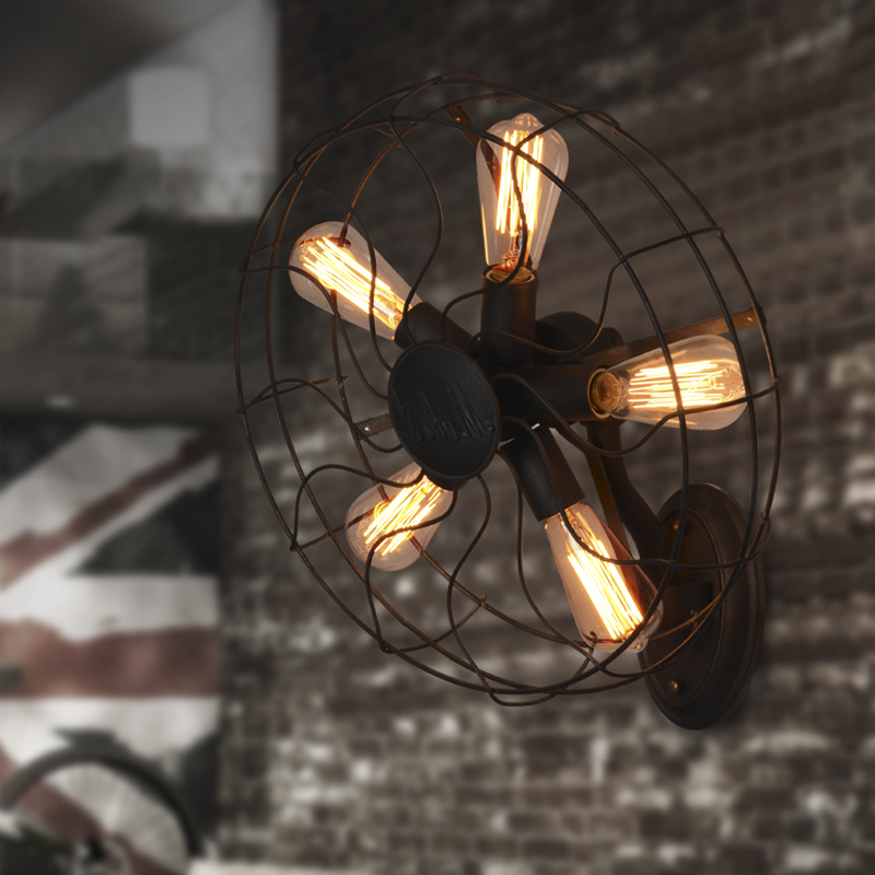 Industrial air living room bedroom bedside wall fans lamps American country style creative wall lamps round creative wall scone
