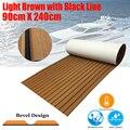 Estera de alfombra antideslizante para el suelo marino del yate de la hoja de teca del barco mejorada 90cm240cm/luz de 35,4